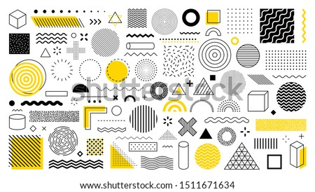 Set of 100 geometric shapes. Memphis design, retro elements for web, vintage, advertisement, commercial banner, poster, leaflet, billboard, sale. Collection trendy halftone vector geometric shapes.