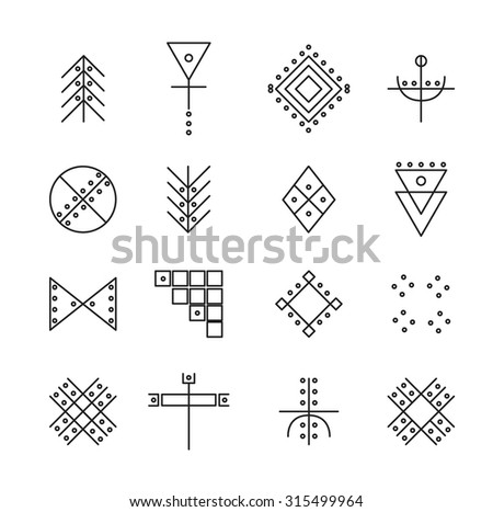 Set of geometric shapes. Trendy hipster icons and logotypes. Religion, philosophy, spirituality, occultism symbols collection. isolated