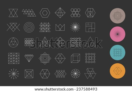 Set of 30 geometric shapes. Trendy hipster retro backgrounds and logotypes.