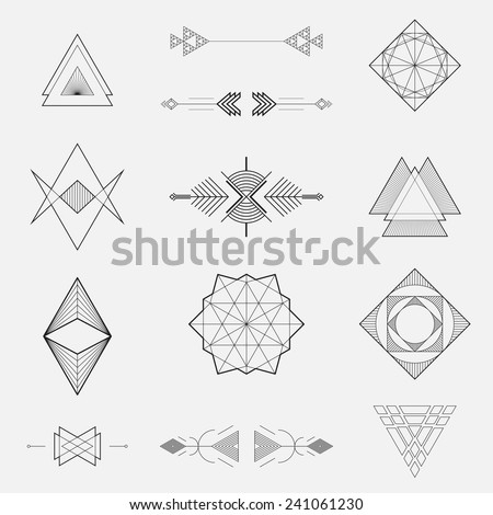 Set of geometric shapes, triangles, line design, vector