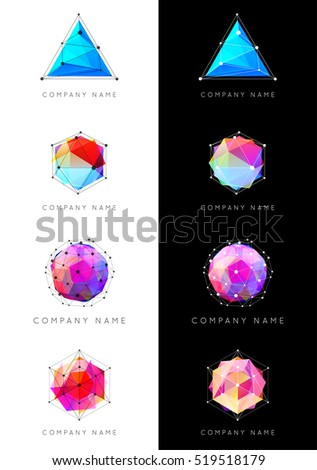 Set of Geometric Shapes Unusual and Abstract. Vector Logo. Polygonal Colorful Logotypes.