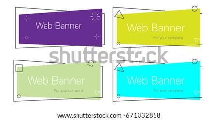 set of geometric vector banners