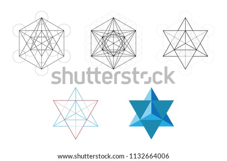 Set of geometrical elements and shapes. Sacred Geometry Davids Star development from Metatron Cube. Vector designs