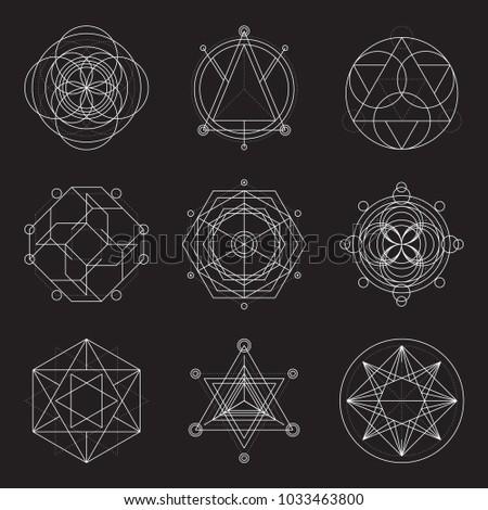 Set of 6 geometrical elements. Sacred Geometry.