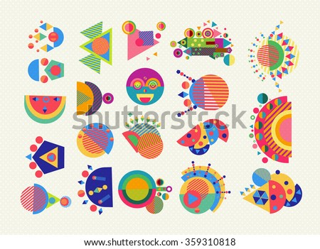 Set of geometry elements, abstract symbols and shapes in fun colorful style. EPS10 vector.