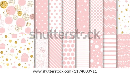 Set of geomteric sweet pink seamless patterns Pink dotted background collection Vector illustration Hand drawn wrap wallpaper cover fabric cloth textile design Swatch line star zigzag girl baby shower