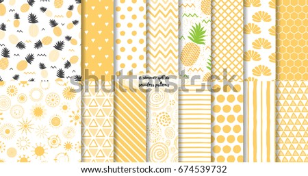 Set of geomterical yellow summer and fruit seamless patterns. Vector illustration Hand drawn background, wrap, wallpaper, cover, fabric, cloth, textile design. Swatch. Pineapple, lines zigzag template