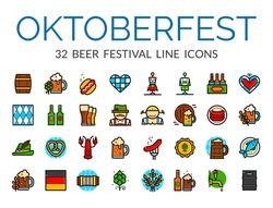 Set of German Beer Festival icons in line art style, Oktoberfest vector illustration