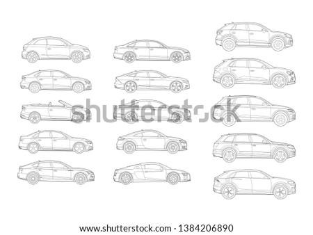 set of german car models side
