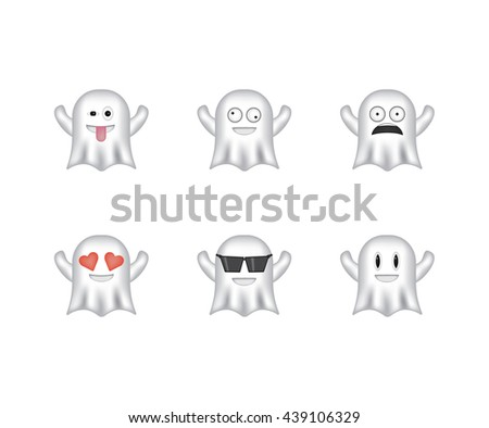 set of ghost emoticon vector