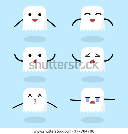 set of ghost emoticons set of