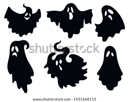 Set of ghosts. Collection of ghosts for Halloween. Stylized mystical creatures. Silhouettes of souls. Vector illustration for children.