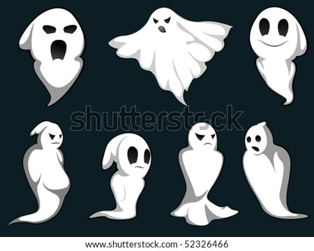 Set of ghosts for design isolated on background. Jpeg version also available in gallery