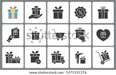 Set of gift box icons. Black vector illustration on white for graphic and web design.