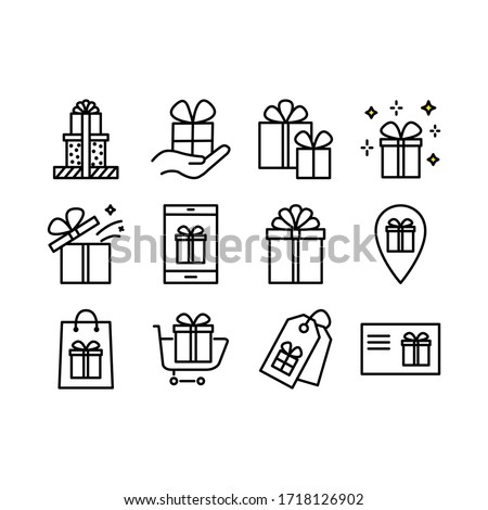 Set of gift box icons, such as Gift box, present, package, price tag, gift card. Vector outline stroke symbols for christmas, New Year surprise design.  Editable Stroke