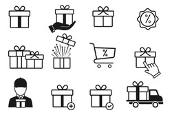 Set of gift box icons, such as present, discount, package, gift delivery, price tag. isolated on white, for graphic and web design. Editable stroke, Vector illustration