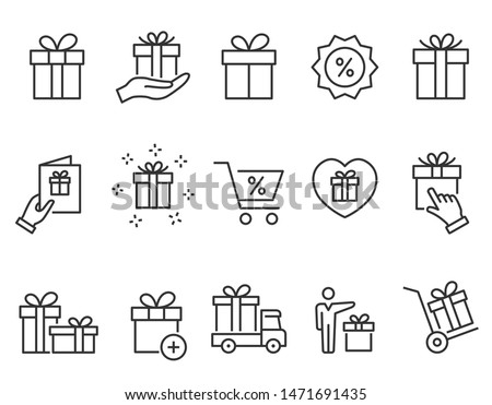 Set of gift box icons, such as present, discount, package, price tag
