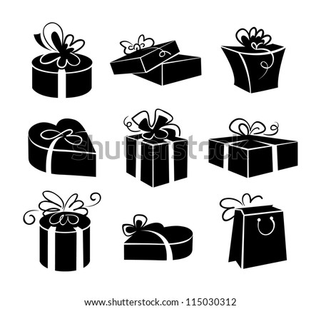 Set of gift boxes icons, black and white illustrations