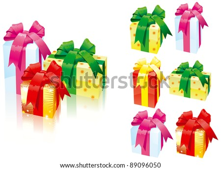 Set of gift boxes/ Vector illustration of set of gift boxes with bows - three kinds of colors
