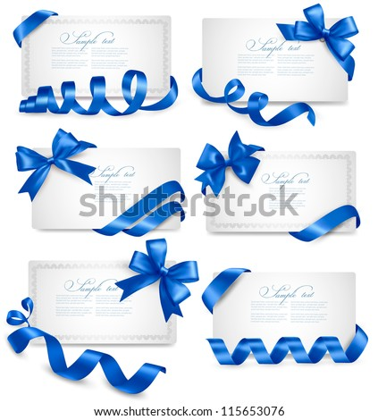 Set of gift card notes with blue bows with ribbons Vector - stock vector