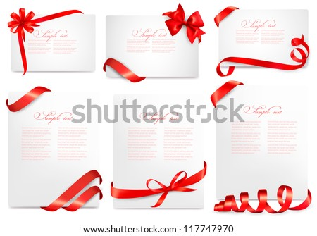 Set of gift card notes with red bows with ribbons. Vector illustration. #117747970