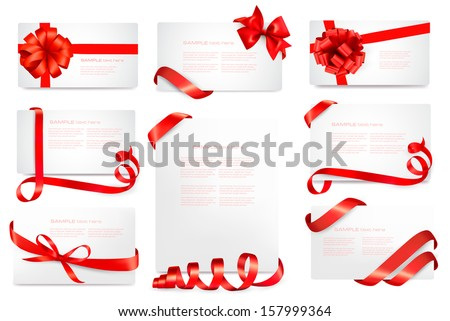 set of gift card notes with red