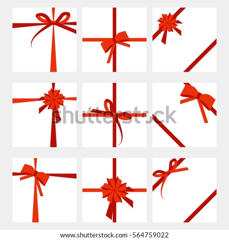 Set of gift card wide present with red ribbon prize wrapping template for banner design vector illustration