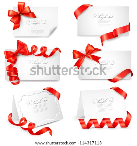 Set of gift cards with red gift bows with ribbons Vector illustration.