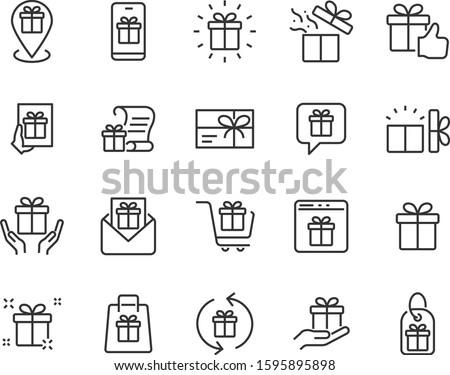 set of gift icons, birthday gift, gift box, present