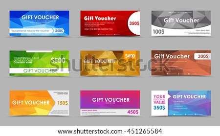 Set of gift vouchers. Templates of polygonal cards of different face value, with a color geometrical background. Vector illustration