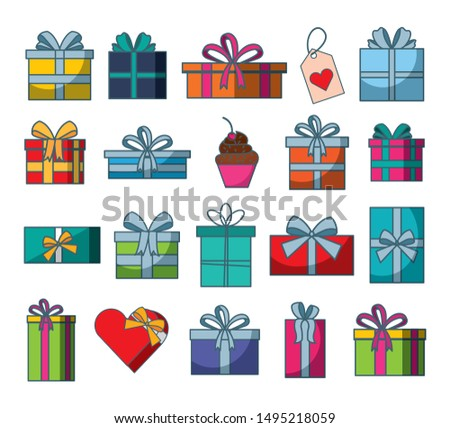 set of gifts boxes presents vector illustration design