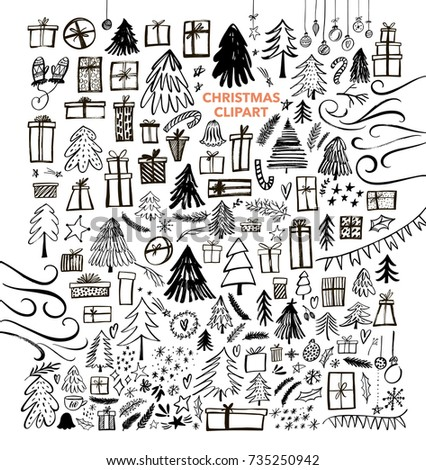 Set of gifts, fir-trees, surprises and other Christmas elements. Holiday attributes collection. Ink illustration. Modern brush calligraphy. Isolated on white background. #735250942