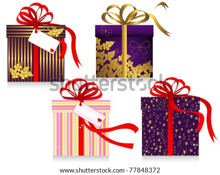 Set of gifts with a bow isolated on the white. vector.