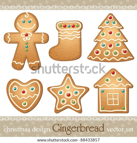 set of gingerbread  elements