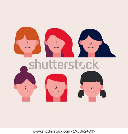 set of girl faces with various