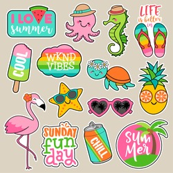 Set of girl fashion patches, colorful cute cartoon badges, fun stickers design vector in summer holidays concept
