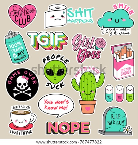Set of girl fashion patches, cute cartoon badges, fun stickers design vector for teenage girls