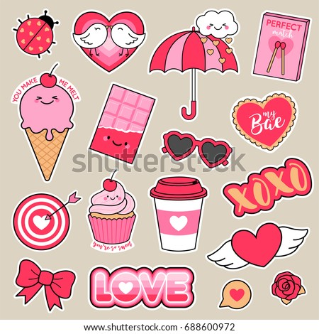 set of girl fashion patches