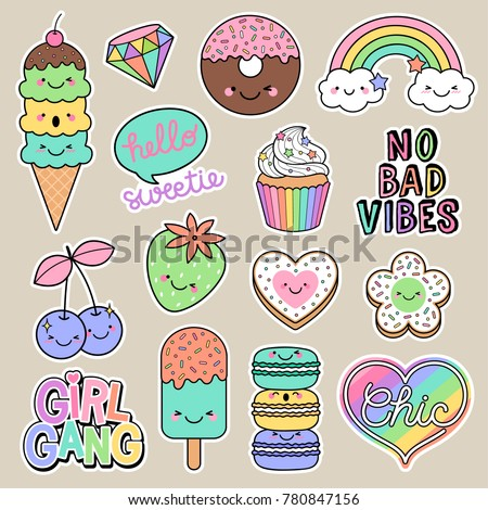 Set of girl fashion patches, cute cartoon badges, fun stickers desserts vector, positive thinking words design.