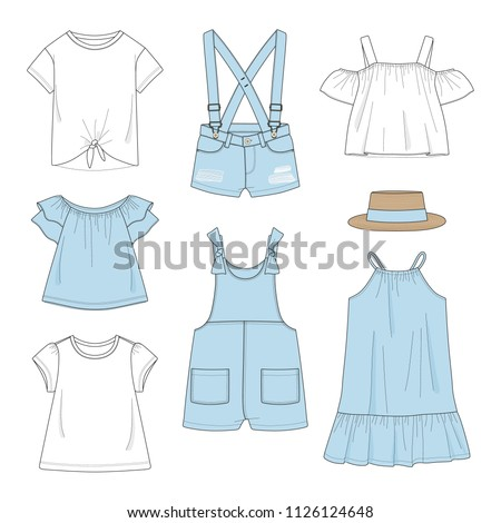 Set of girl's clothing. Summer, jeans collection. Vector illustration.