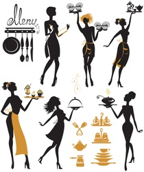 Set of girl silhouettes, waitress with tray, isolated on white background. Woman work. Element for cafe, restaurant, bar menu design.