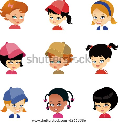 set of 9 girls cartoon portrait