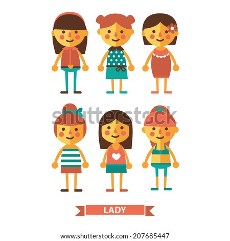 Set of girls characters Lady Flat icons