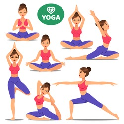 Set of girls in various poses of yoga. Woman yoga poses training. Different exercise. Vector illustration