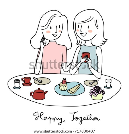 Set of girls talk concept. Women talking and smiling to each other at the table. Girl with friend enjoy drinking tea or coffee and having bakery together in coffee shop. Vector illustration.