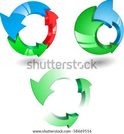 Set of glass arrows different colors and circle directions. Vector.