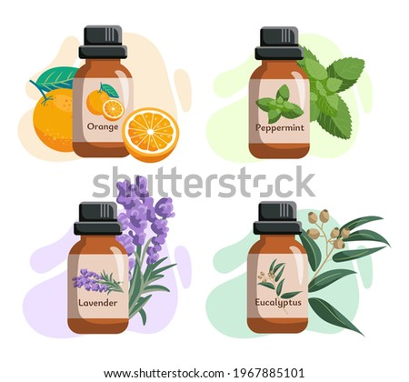 Set of glass bottles with essential oils. Orange, eucalyptycus, peppermint, tea tree oils. Label, sticker. Vector illustration isolated on white background. Foto stock ©