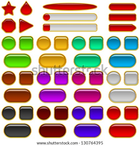 Set of glass buttons, computer icons of different colors and shapes for web design.