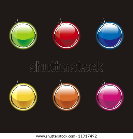 Set of glass buttons on a black background