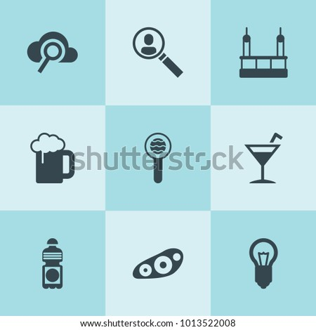set of 9 glass filled icons